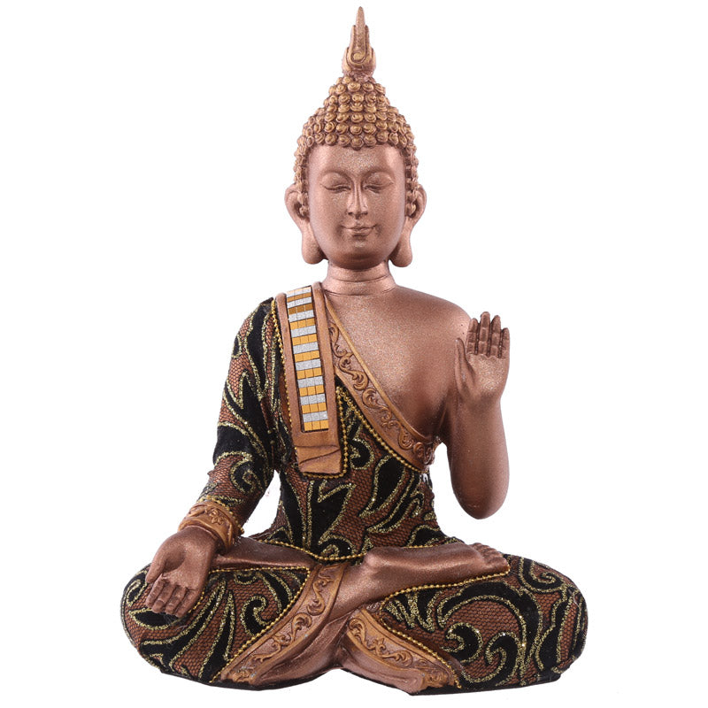23cm Fabric Effect Decorative Thai Buddha Sitting Hand Up Medium