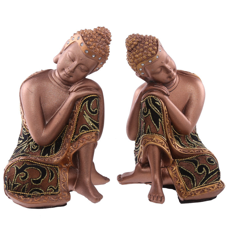 Pair of 19cm Fabric Effect Decorative Thai Buddhas Head on Hands