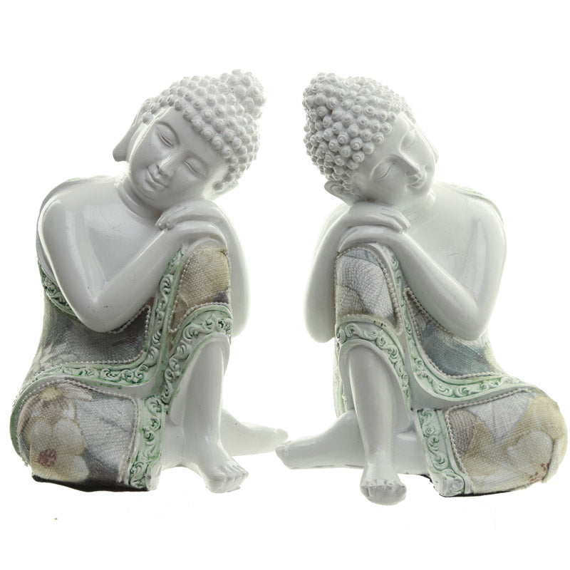 Contemplation - Pair of Decorative Floral Thai Buddha Figurines