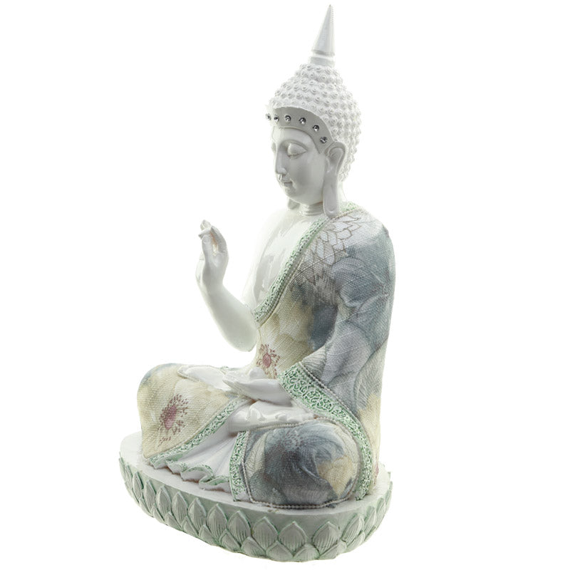Spiritual Focus - Decorative Floral Thai Buddha Figurine
