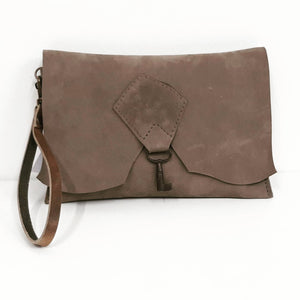 Raw Edge Leather Clutch with Vintage Key Detail - Velvet Grey