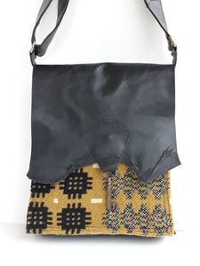 Raw Edge Leather & Welsh Wool Bag with Vintage Key Detail - Mustard & Black - Coterie Leather Bags