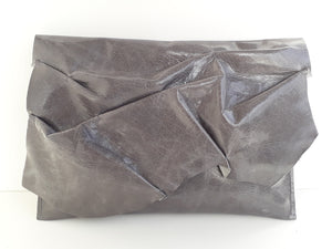 Ruffle Clutch Purse - Distressed Grey - Coterie Leather Bags