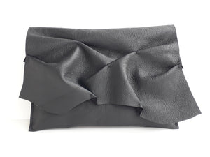 Ruffle Clutch - Black - Coterie Leather Bags