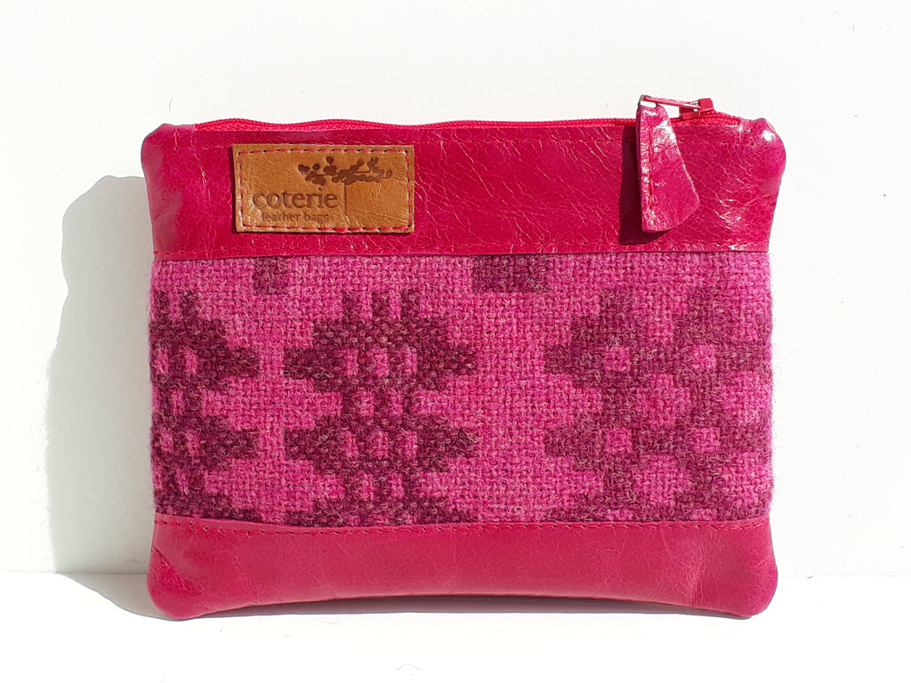 Leather & Welsh Wool Purse - Fuchsia - Coterie Leather Bags