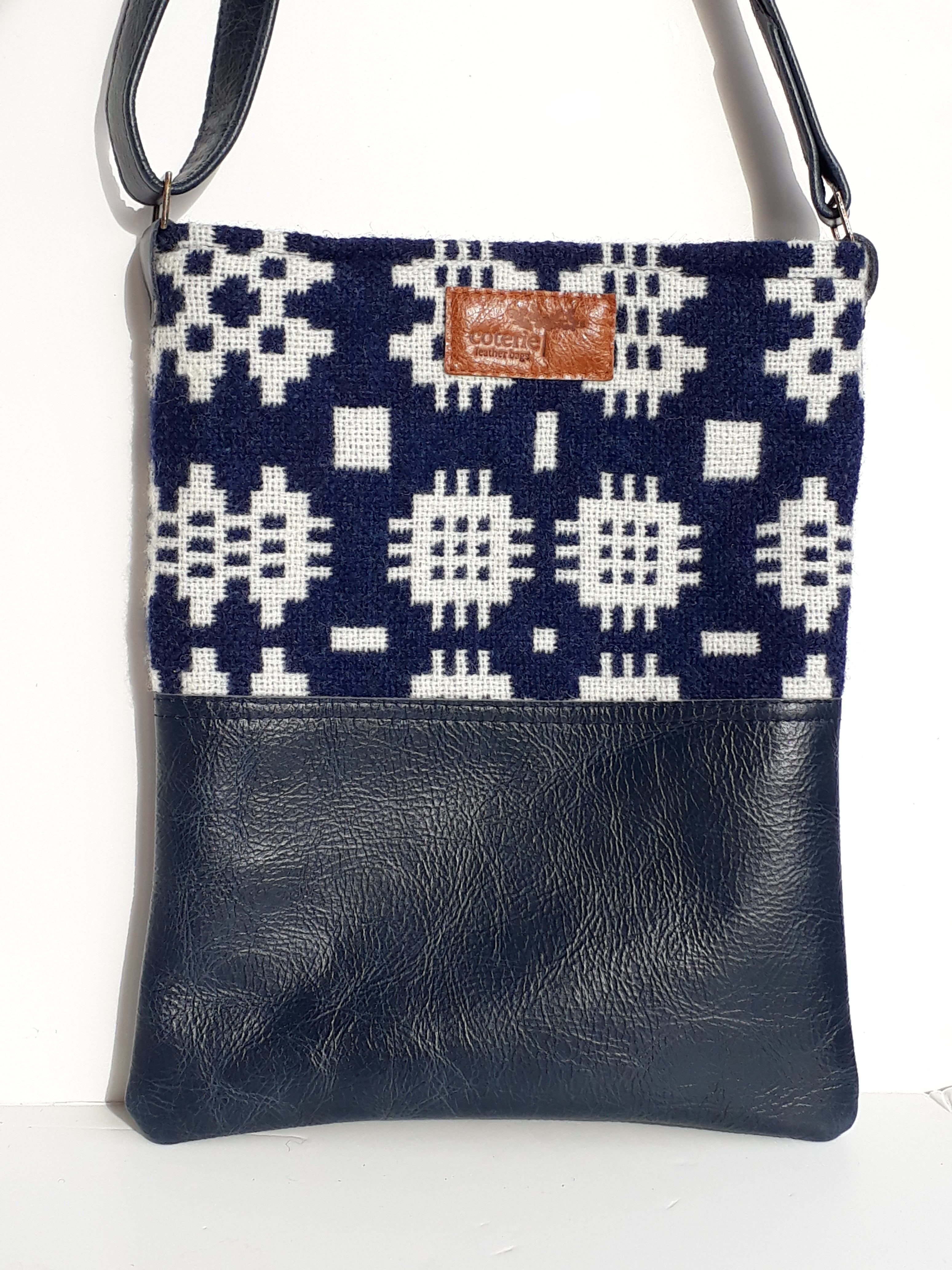 Leather & Welsh Wool Messenger - Blue - Coterie Leather Bags