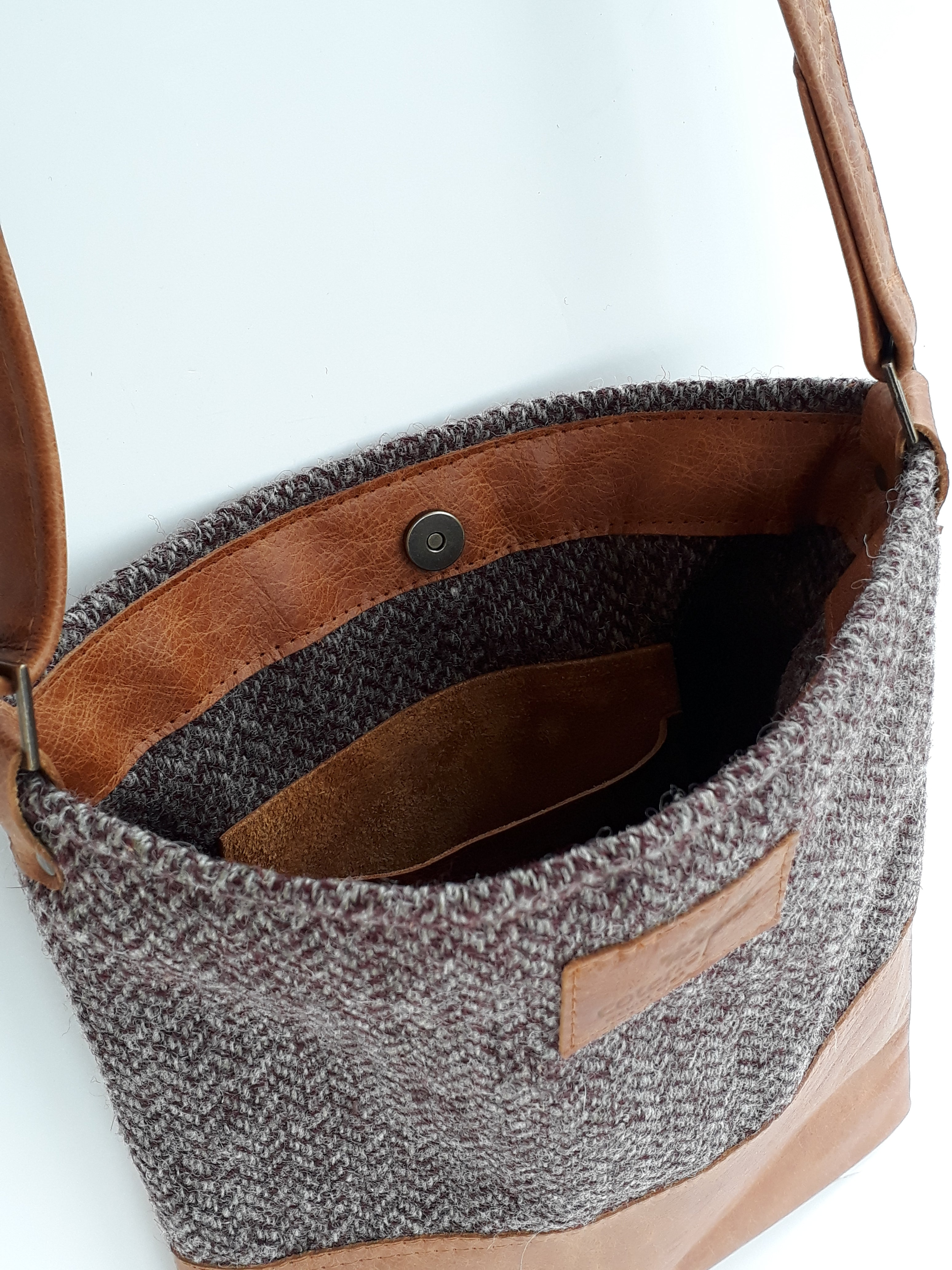 Leather & Welsh Wool Messenger - Herringbone & Tan - Coterie Leather Bags