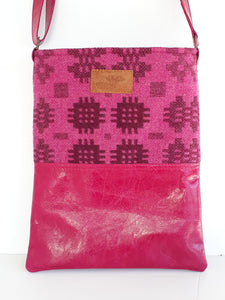 Leather & Welsh Wool Messenger - Fuchsia - Coterie Leather Bags