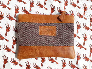 Leather & Welsh Wool Purse - Tan & Herringbone - Coterie Leather Bags