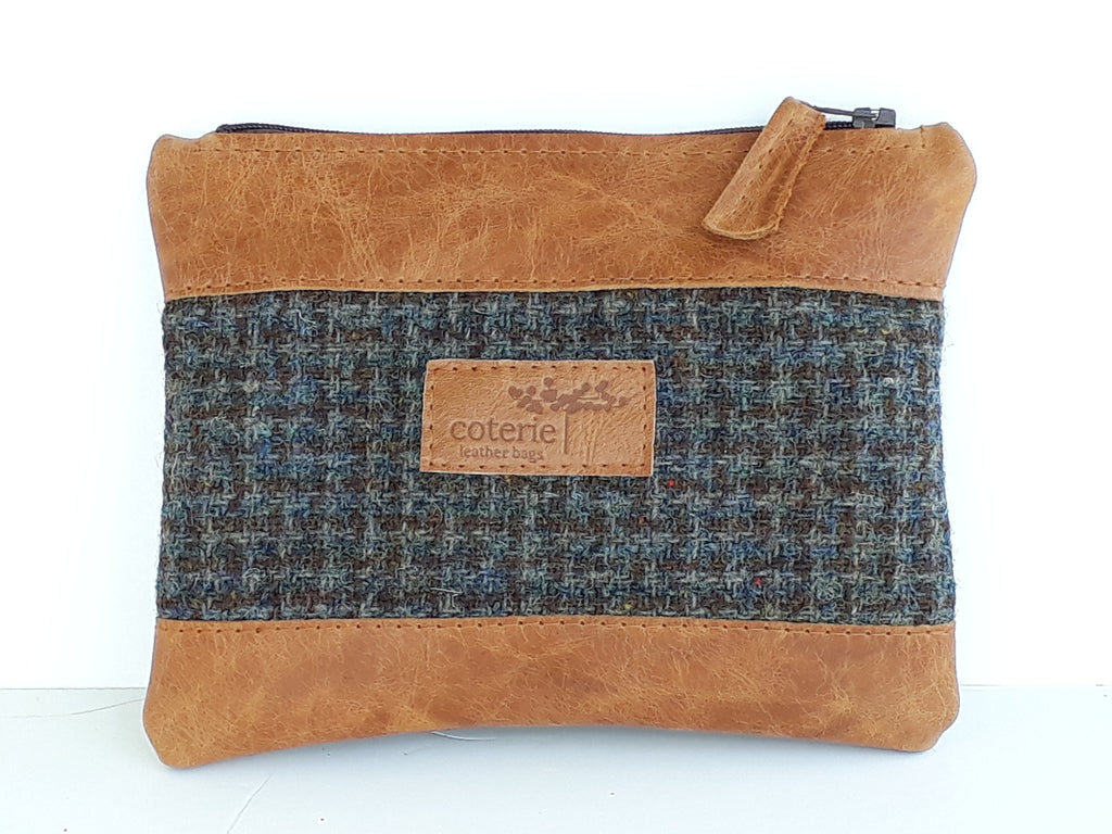 Leather & Welsh Wool Purse - Tan & Tweed - Coterie Leather Bags
