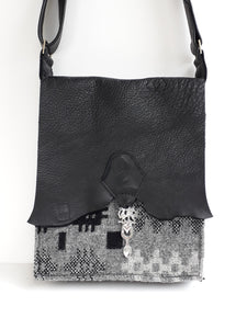 Raw Edge Leather & Welsh Wool Bag with Pewter Lovespoon Detail - Black & Grey - Coterie Leather Bags