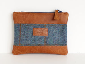 Leather & Wool Purse - Tan & Blue Tweed - Coterie Leather Bags