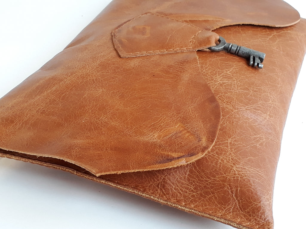 Raw Edge Leather Clutch with Vintage Key Detail - Tan - Coterie Leather Bags