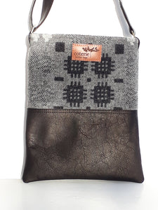 Leather & Welsh Wool Messenger - Black & Grey - Coterie Leather Bags