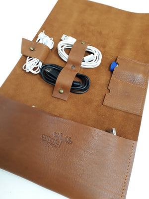 Handmade Leather Cable Organiser - Coterie Leather Bags