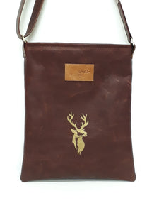 Leather Messenger Bag - Golden Stag - Coterie Leather Bags