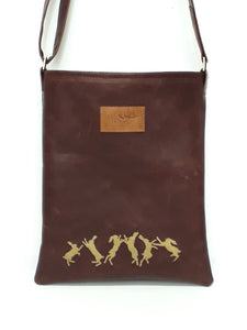 Leather Messenger Bag - Boxing Hares - Coterie Leather Bags