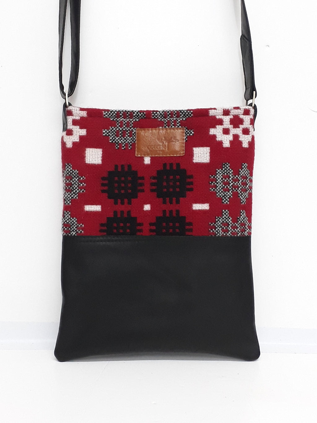 Leather & Welsh Wool Messenger - Red & Black - Coterie Leather Bags