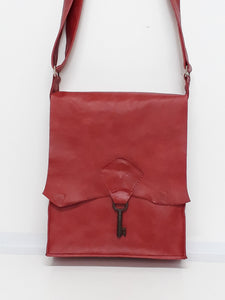 Raw Edge Leather Bag with Vintage Key Detail - Coral - Coterie Leather Bags