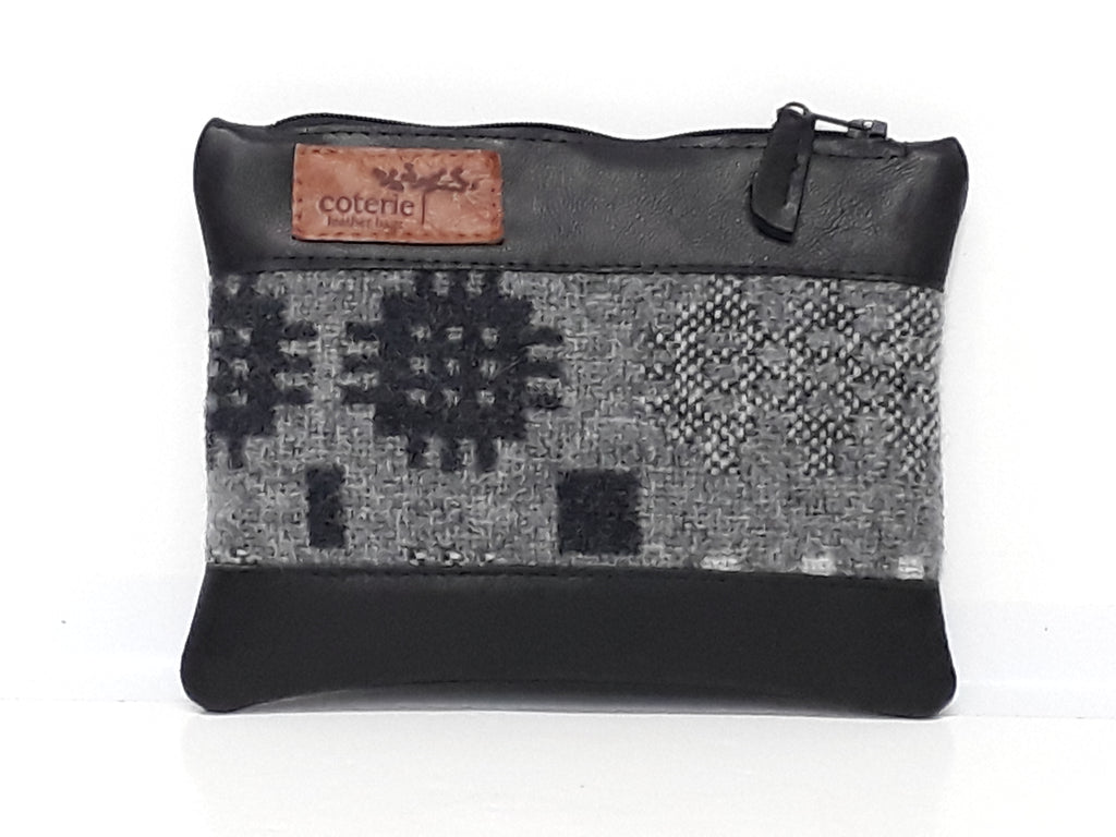 Leather & Welsh Wool Purse - Black & Grey - Coterie Leather Bags
