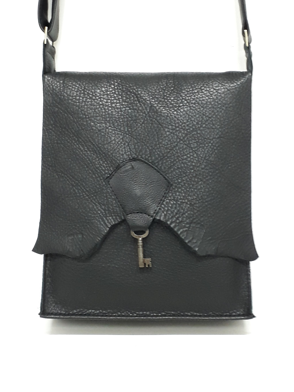 Raw Edge Leather Bag with Vintage Key Detail - Black - Coterie Leather Bags