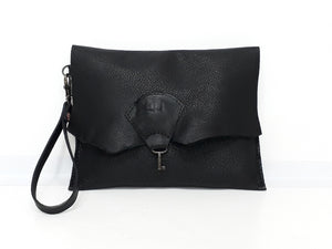 Raw Edge Leather Clutch Purse with Vintage Key Detail - Black - Coterie Leather Bags