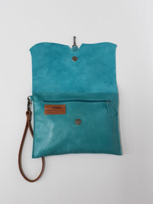 Raw Edge Clutch - Turquoise - Coterie Leather Bags