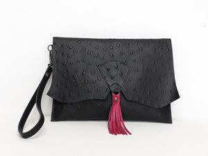 Tassel Clutch - Black & Fuchsia - Coterie Leather Bags