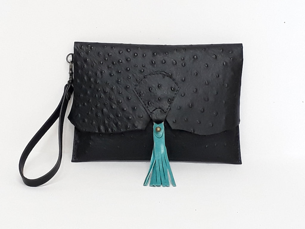 Tassel Clutch - Black & Turquoise - Coterie Leather Bags