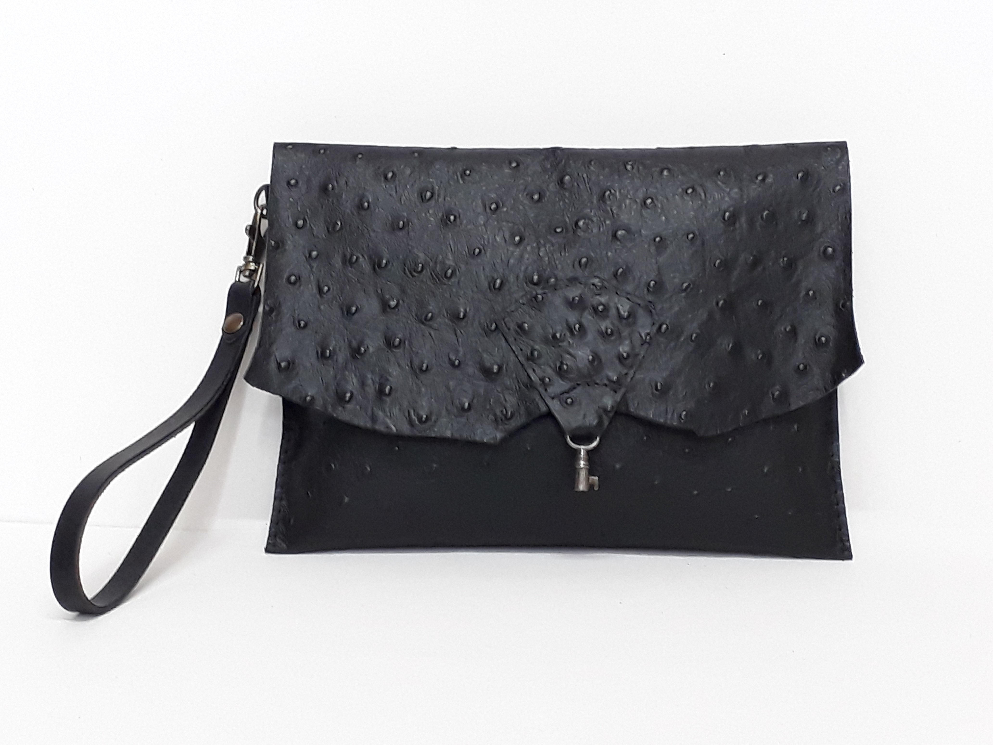 Raw Edge Leather Clutch with Vintage Key Detail - Black Ostrich - Coterie Leather Bags