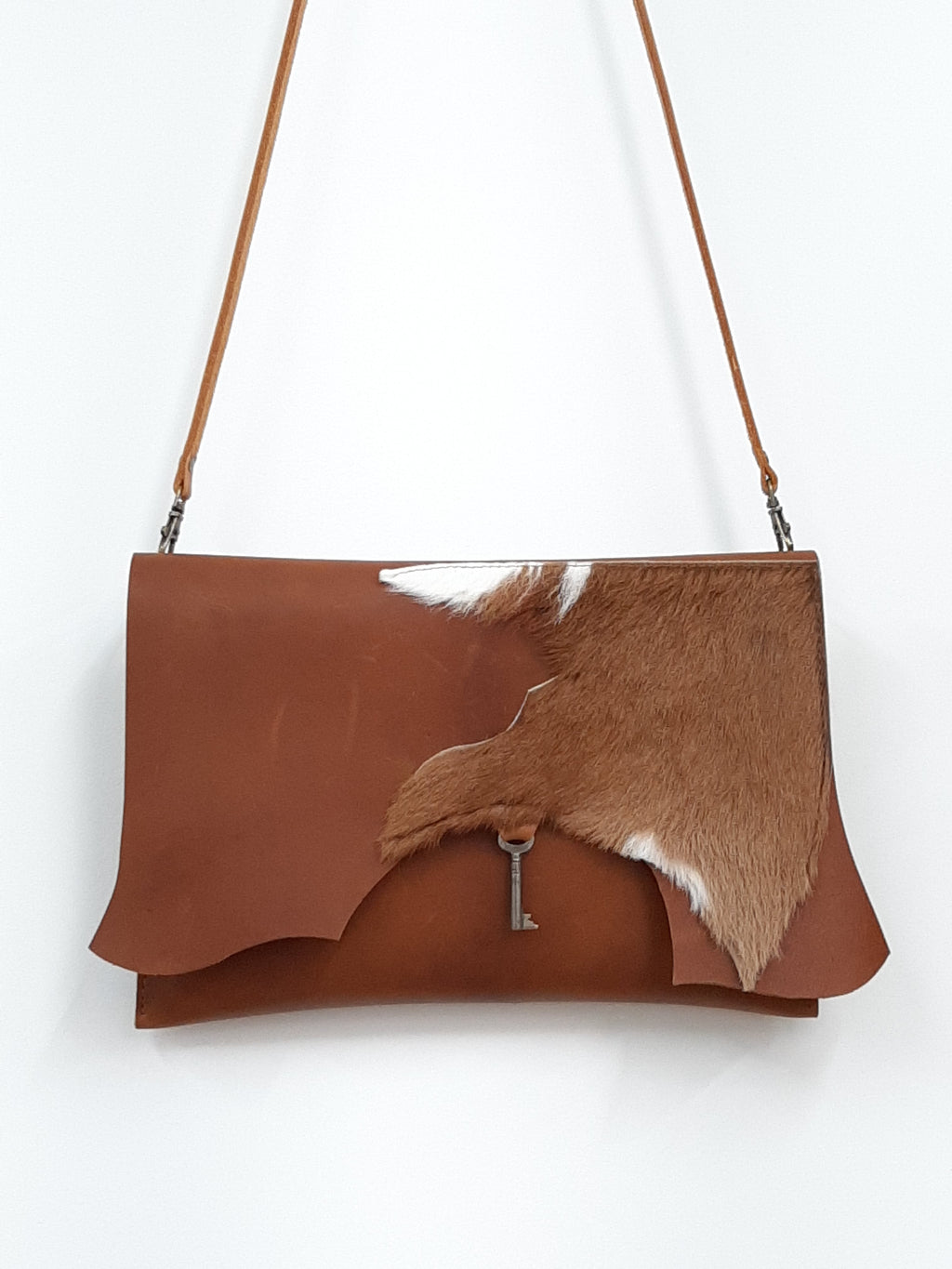 Raw Edge Clutch with vintage key detail - Goat hide - Coterie Leather Bags