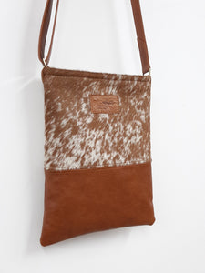 Cowhide & Leather Messenger - Speckled Tan - Coterie Leather Bags