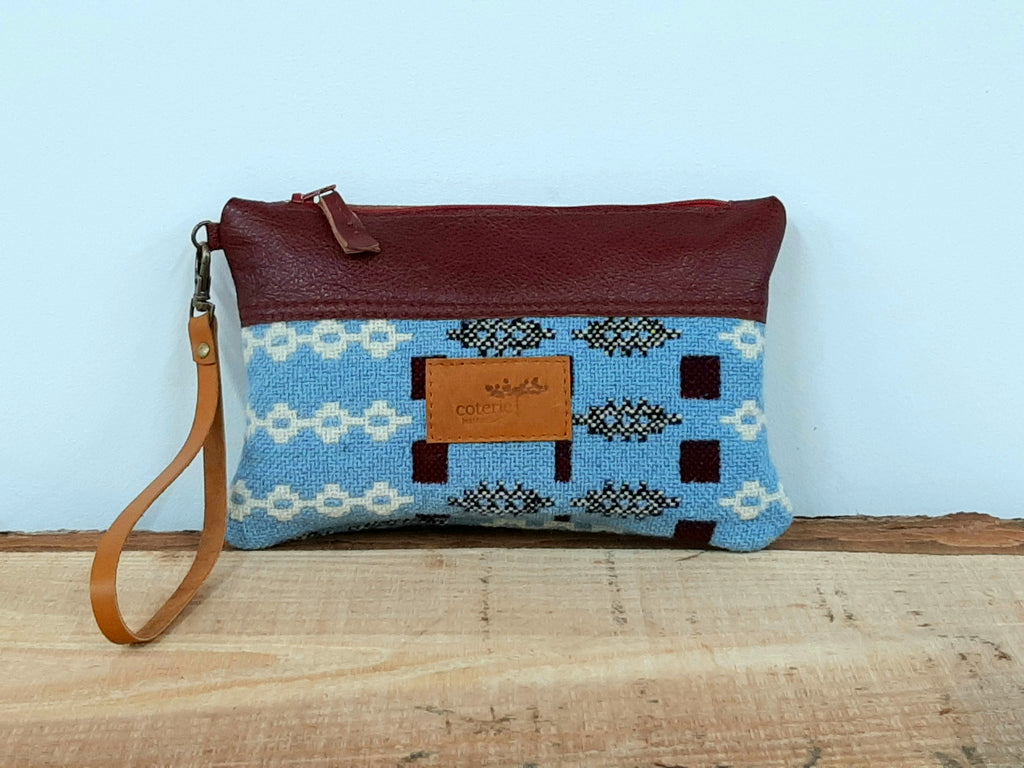 Leather & Welsh Wool Purse - Blue & Maroon