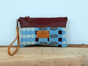 Leather & Welsh Wool Purse - Blue & Maroon - Coterie Leather Bags