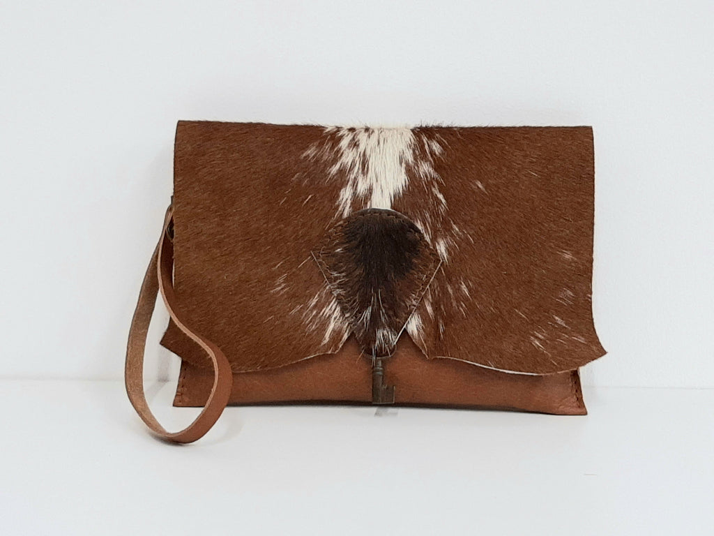 Raw Edge Leather Clutch Purse with Vintage Key Detail - Cowhide - Coterie Leather Bags