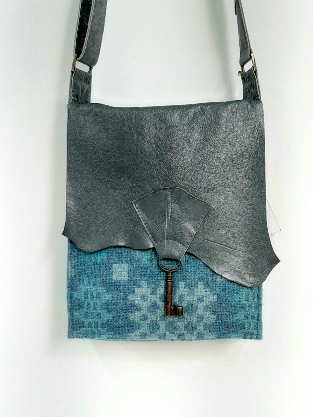 Raw Edge Leather & Welsh Wool Bag with Vintage Key Detail - Bluestone & Teal