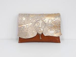 Raw Edge Leather Clutch Purse with Vintage Key Detail - Gold Sparkle Cowhide