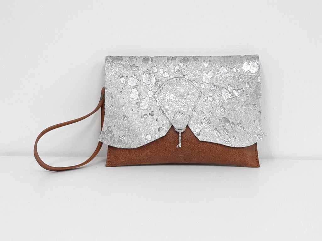 Raw Edge Leather Clutch Purse with Vintage Key Detail - Silver Sparkle Cowhide - Coterie Leather Bags