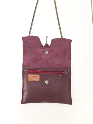 Raw Edge Leather Clutch with Vintage Key Detail - Aubergine