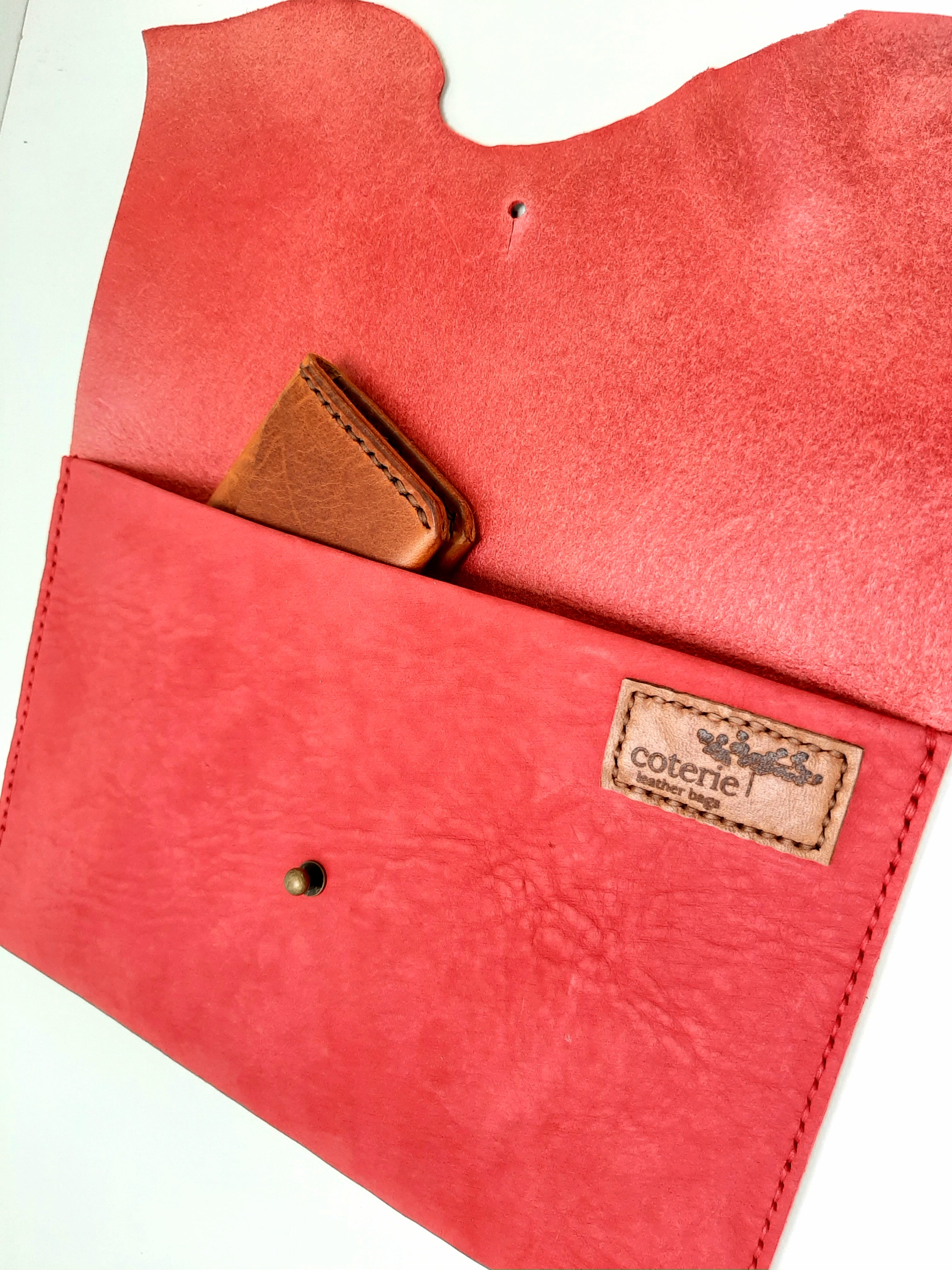 Raw Edge Clutch Purse - Red - Coterie Leather Bags