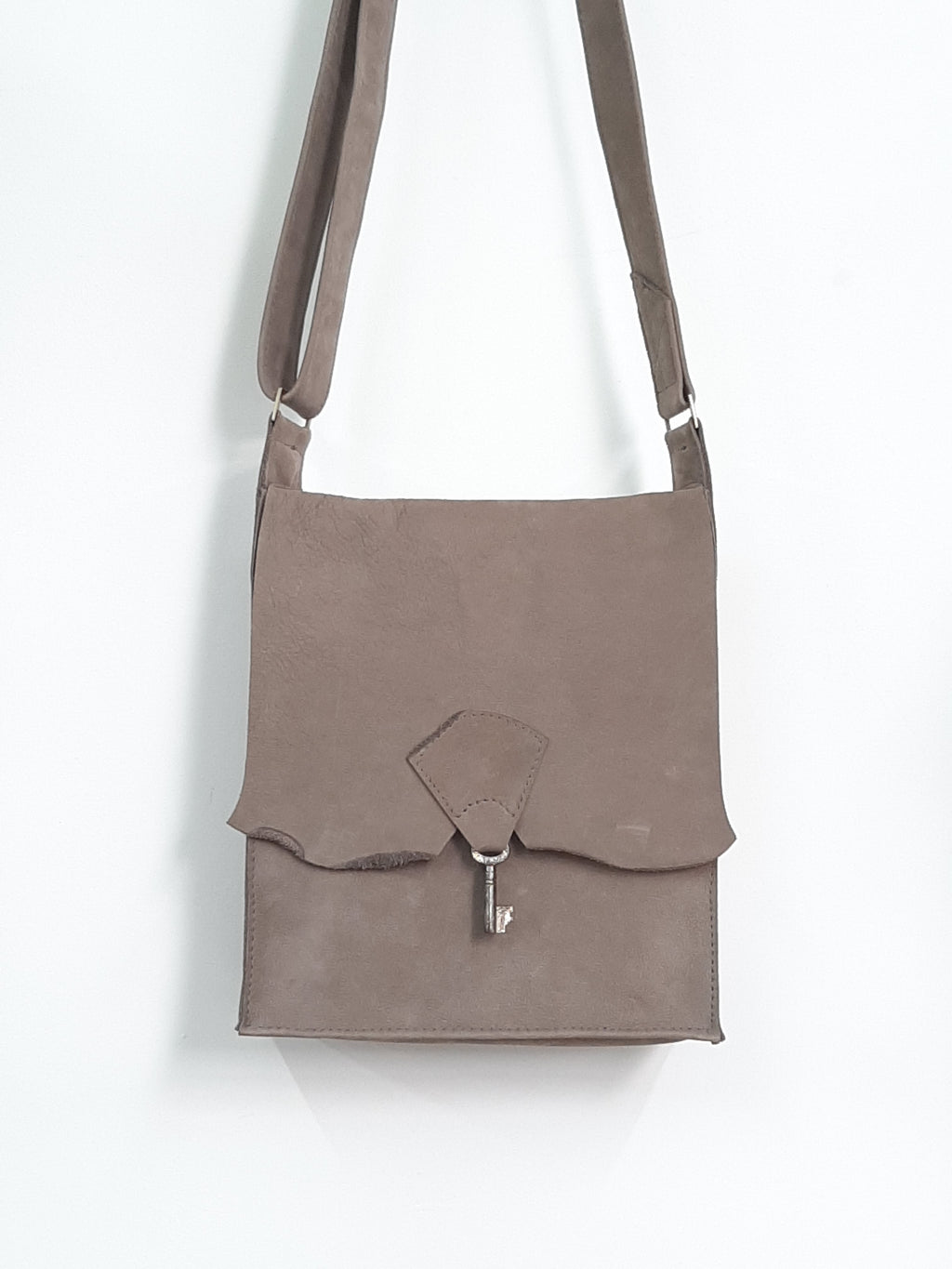 Raw Edge Leather Bag with Vintage Key Detail - Velvet Grey - Coterie Leather Bags