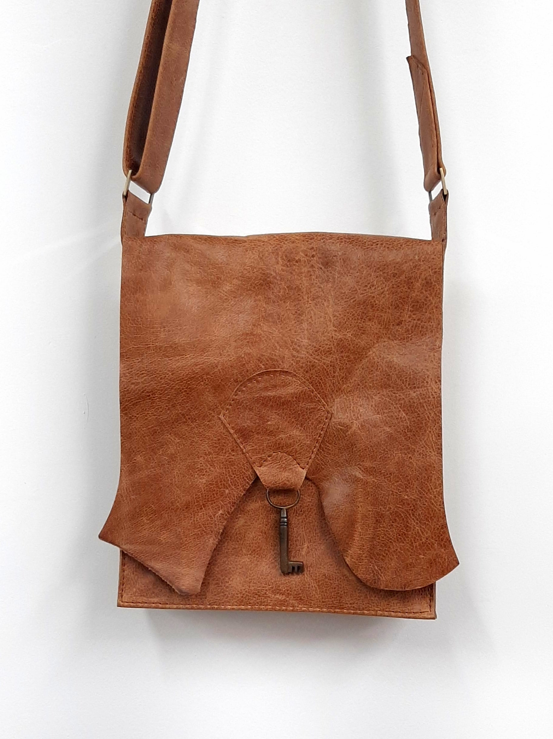 Raw Edge Leather Bag with Vintage Key Detail - Tan