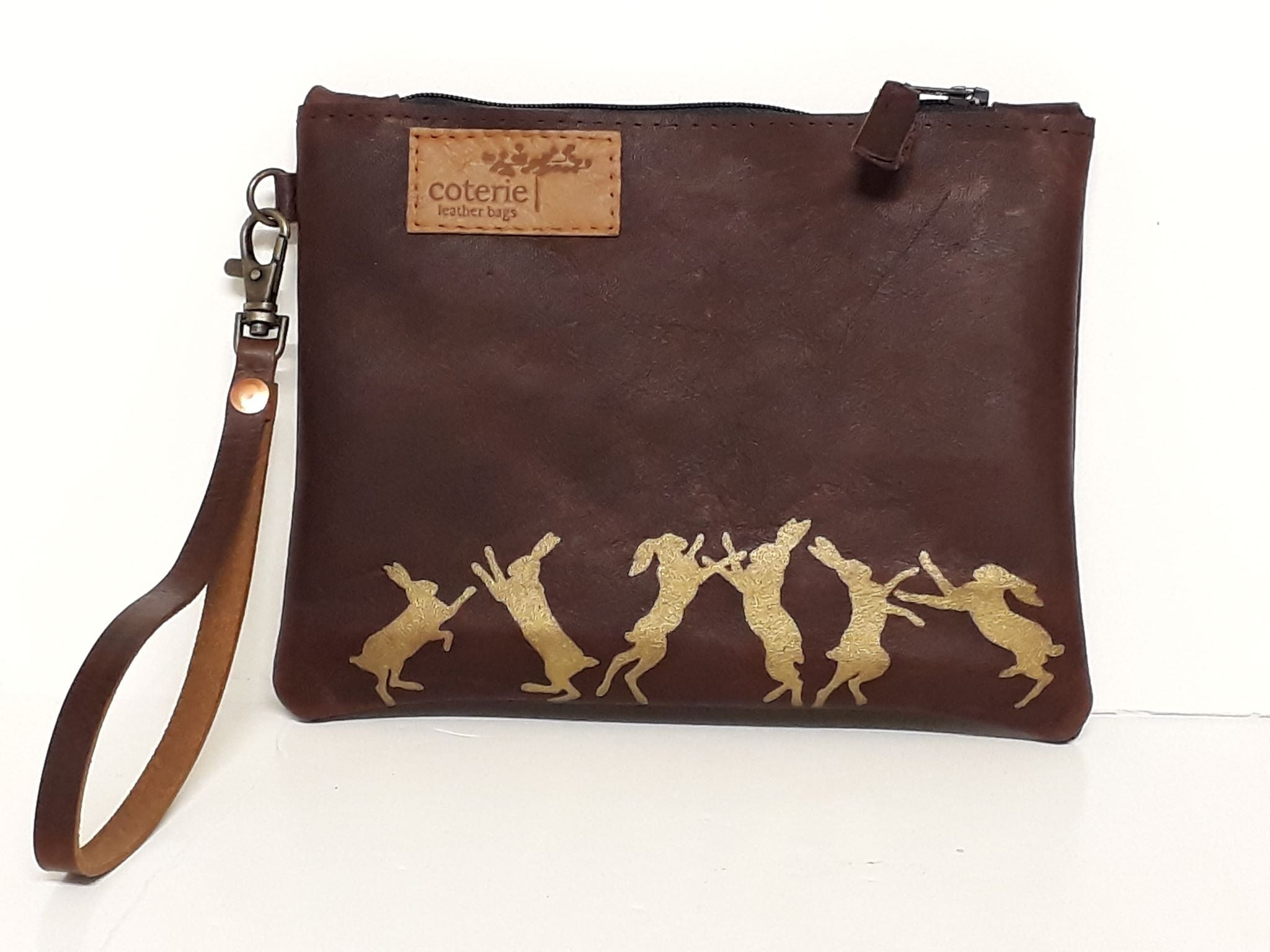 Boxing Hares Leather Purse - Coterie Leather Bags