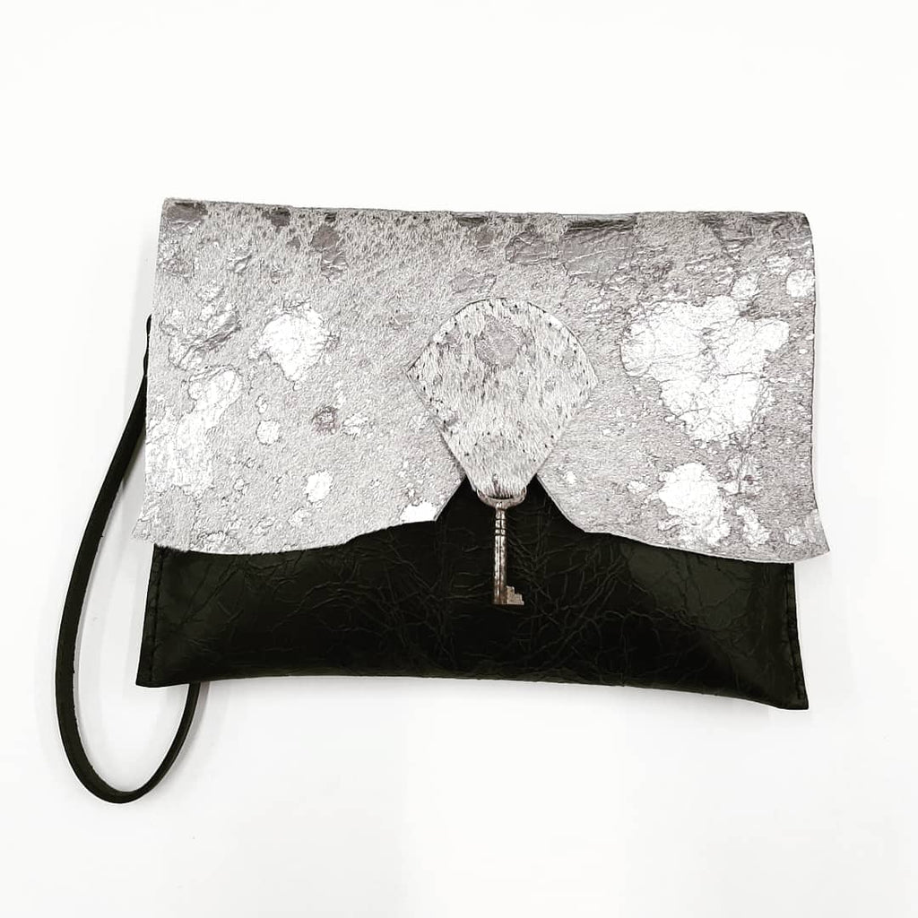 Raw Edge Leather Clutch Purse with Vintage Key Detail - Sparkly Cowhide