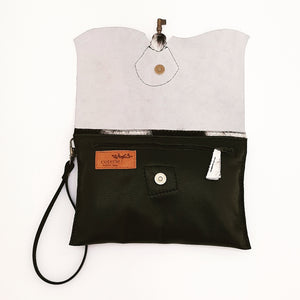 Raw Edge Leather Clutch Purse with Vintage Key Detail - Cowhide