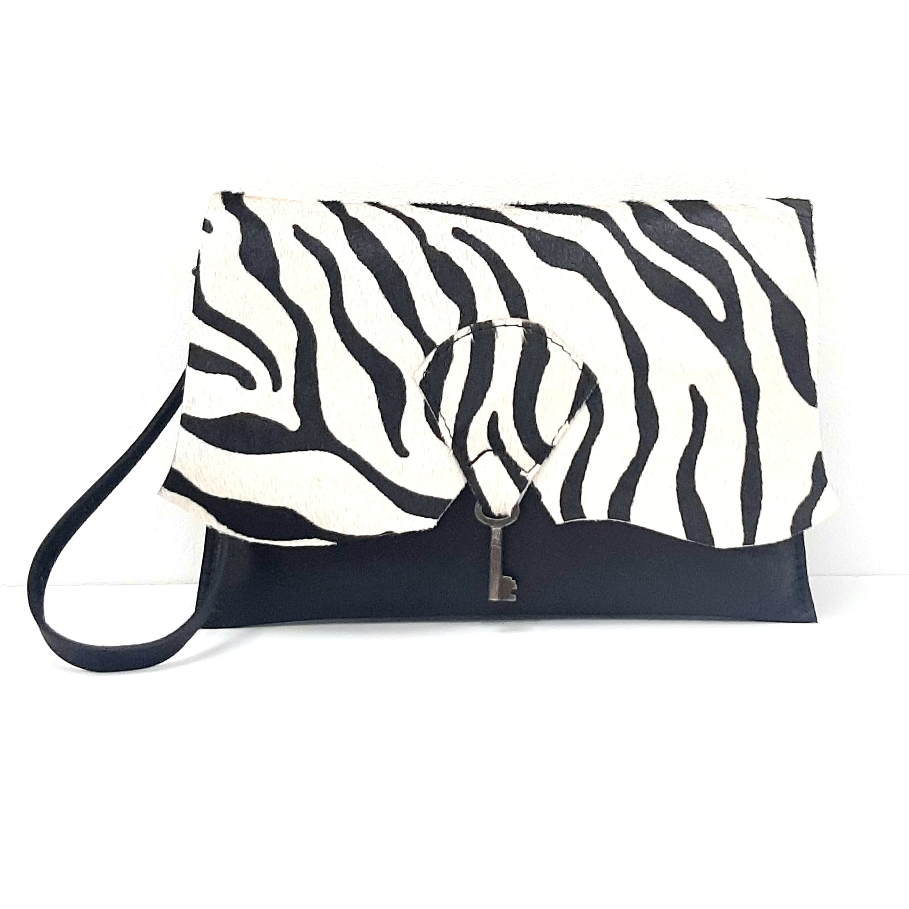 Safari Clutch Purse with Vintage Key Detail - Zebra & Black