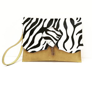 Safari Clutch Purse with Vintage Key Detail - Zebra & Prairie Green