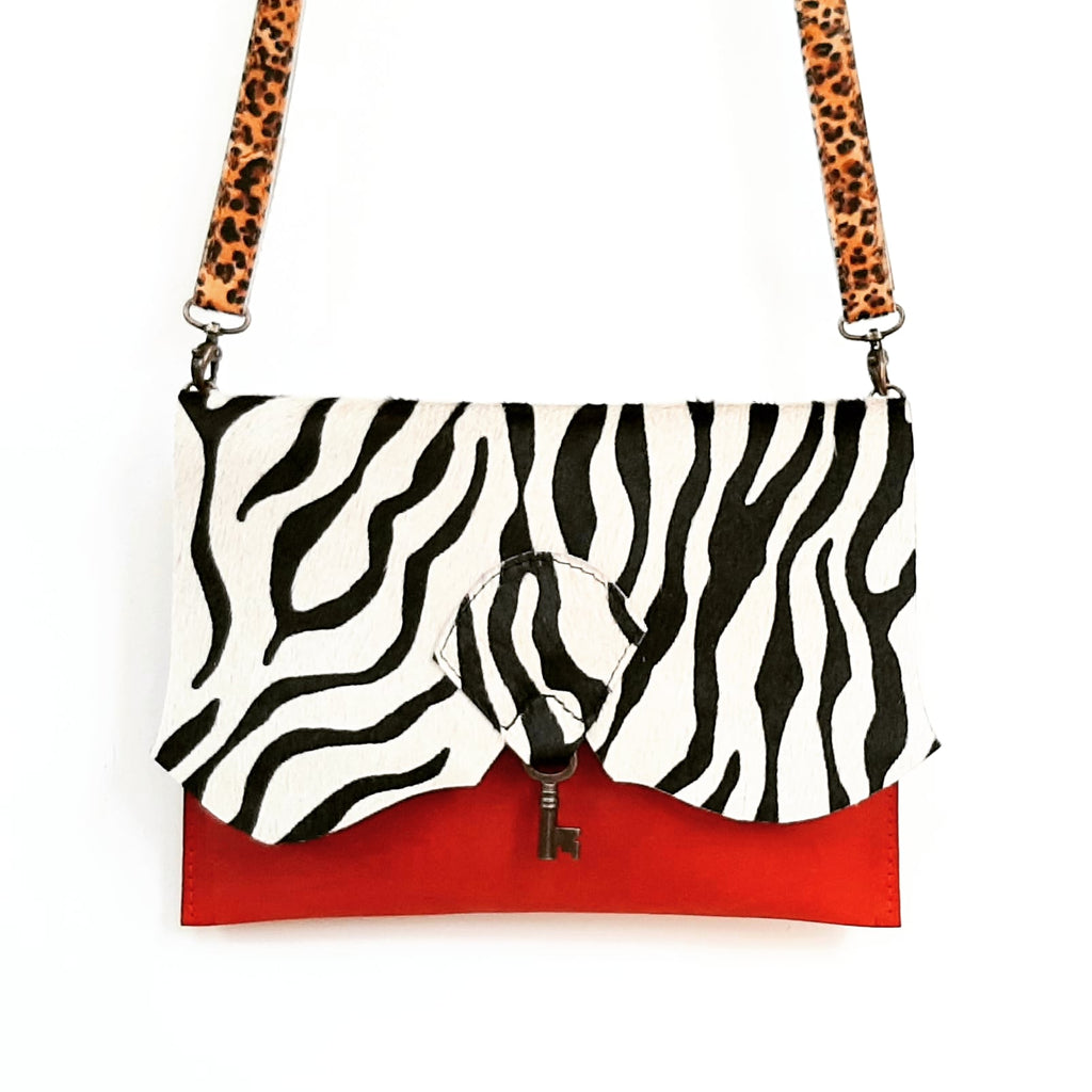 Safari Clutch Bag with Vintage Key Detail - Zebra & Desert Red