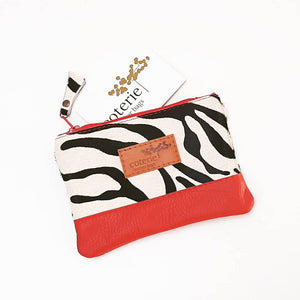 Safari Coin Purse - Zebra & Red