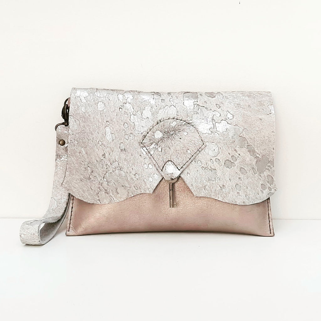 Wild Hide Clutch Purse with Vintage Key Detail - Ballerina Slipper & Silver Splash